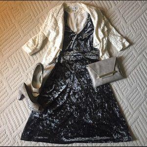 *NWOT* Olive velvet layered collar midi dress